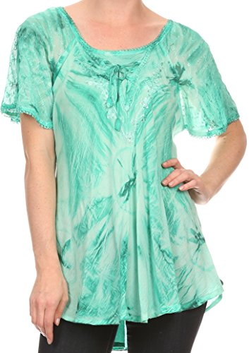 Sakkas 16480 – Taylay Ombre Tie Dye Batik Long Embroidered Corset Neck Blouse Shirt Top – Seafoam – OS