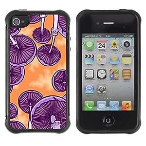 "Hypernova Defender Series TPU protection Cas Case Coque pour Apple iPhone 4 / iPhone 4S [Púrpura Naranja Psychedelic Art""]"