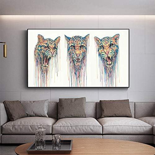 YuanMinglu Pintura sin Marco Acuarela Animal Leopardo ...