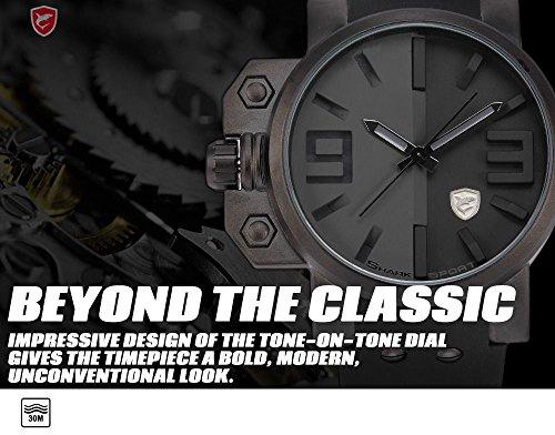 Salmon Fashion Over-sized Crown Silicone Quartz Men Sport Army Wrist Watch - Beige