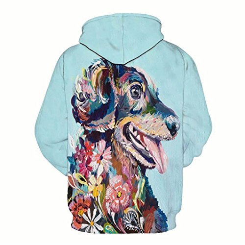 b4c139f509fa SINMA Unisex Fashion Hoodie Dog Floral 3D Print Long Sleeve Pocket  Sweatshirt Women Men Pullover (