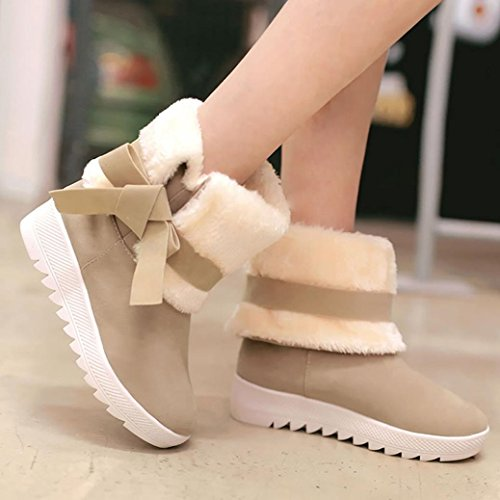 JIANGFU Bow Stiefel Damen Winter Stiefel Schuhe,Damen Stiefel Bowknot Winter Stiefel Warm Stiefeletten Warm Winter Schuhe (40, KH)