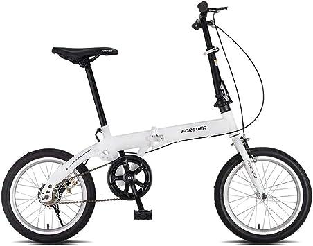 Weiyue Bicicleta Plegable- Bicicleta Plegable 16 Pulgadas Ultraligero portátil Adulto Bicicleta Hombres y Mujeres pequeña Rueda pequeña Velocidad única (Color : White): Amazon.es: Deportes y aire libre