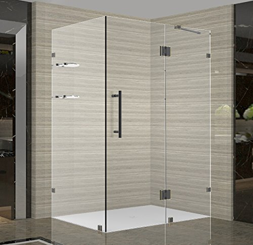 Aston Avalux GS Completely Frameless Shower Enclosure with Glass Shelves, 48