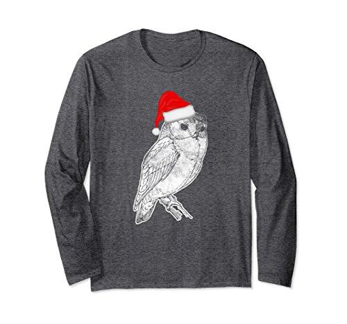 Unisex Owl Santa Hat Christmas Costume Spirit Animal Long Sleeve XL: Dark Heather