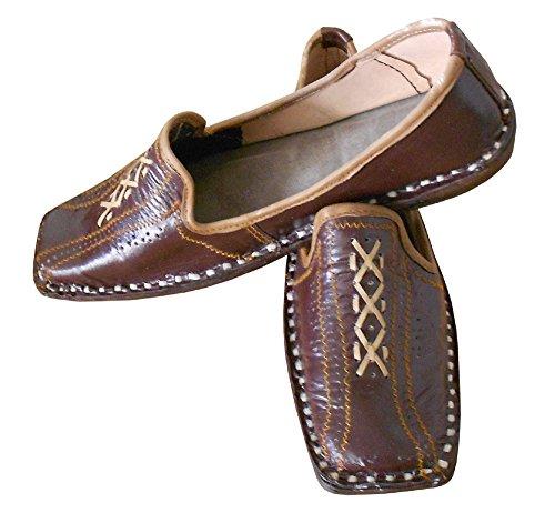 Hommes Chaussures Traditionnel Indien Creations De Kalra Pour Fête Cuir Marron En qEP5w0S