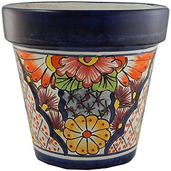 Mexican Ceramic Flower Pot Planter Folk Art Pottery Handmade Talavera # 05
