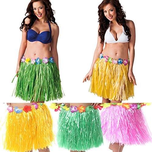 [Hula Skirt [3 Pack] - Hawaiian Luau Hibiscus Green Silk Faux Flowers Hula Grass Skirt for Costume Party, Birthdays, Celebration by] (Hawaiian Costumes For Adults)