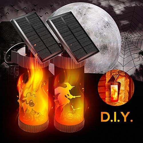 CINBOS Halloween Lights, LED Solar Wall Lights, Flickering Flames Night Lights with 5 Patterns Stickers, Outdoor Decorative Lights for Patio, Garden, Gate, Yard, Halloween, Christmas Decorations -