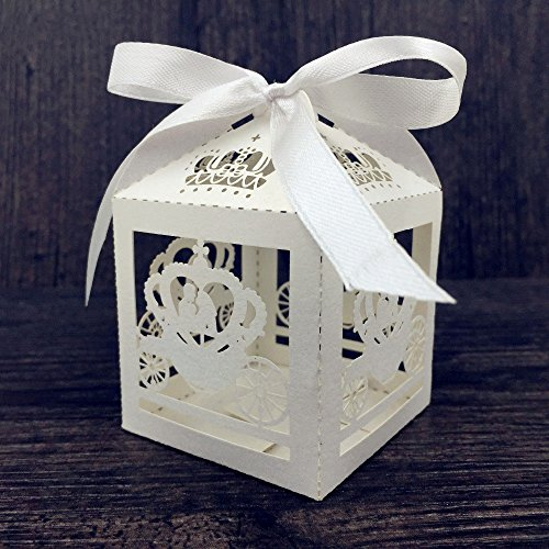 Krismile/® 50 Pack White Love Birds Laser Cut Favor Candy Box Bomboniere with Ribbons Bridal Shower Wedding Party Favors// Laser Cut Candy Gift Boxes With Ribbon Wedding Party Favor Creative Favor Bags