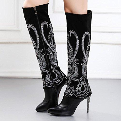 di ricamo Stile 4U® punta alti in donna Best ginocchio da Autunno Stivali punta Scarpe casual a Inverno in cuoio genuino Nero in Tqw64