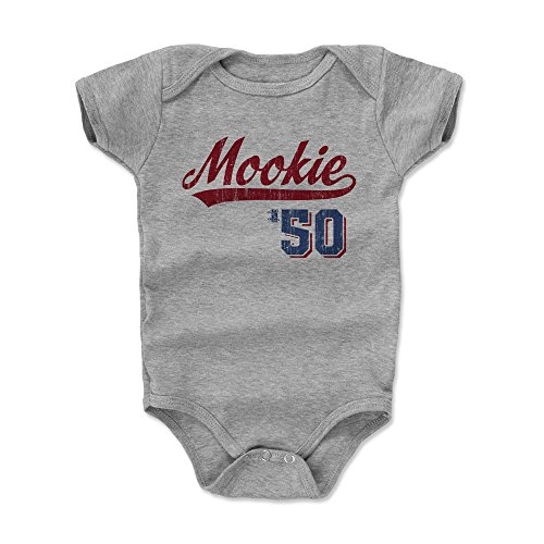 (500 LEVEL Mookie Betts Baby Clothes, Onesie, Creeper, Bodysuit 3-6 Months Heather Gray - Boston Baseball Baby Clothes - Mookie Betts Script R)