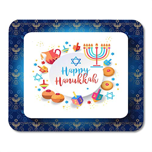 (Nakamela Mouse Pads Jewish Holiday Hanukkah Traditional Chanukah Symbols Wooden Dreidels Spinning Top Hebrew Letters Donuts Mouse mats 9.5