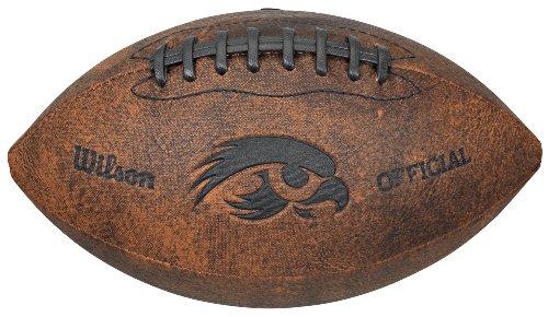 Ncaa Iowa Hawkeyes Leather Football - NCAA Iowa Hawkeyes Vintage Throwback Football, 9-Inches