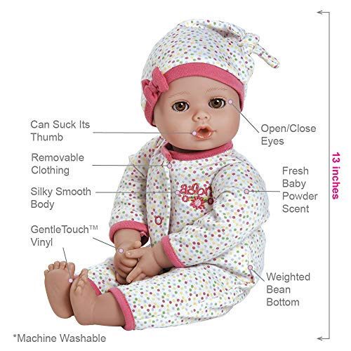 """51NGm I2rQL - Adora PlayTime Baby Dot Vinyl 13"""" Girl Weighted Washable Play Doll Gift Set with Open/Close Eyes for Children 1+ Includes Bottle Cuddly Snuggle Soft Toy"""