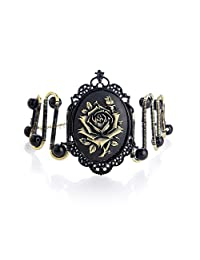 Charm.L Grace Black Lace Gothic Rose Steampunk Bracelet Bangle