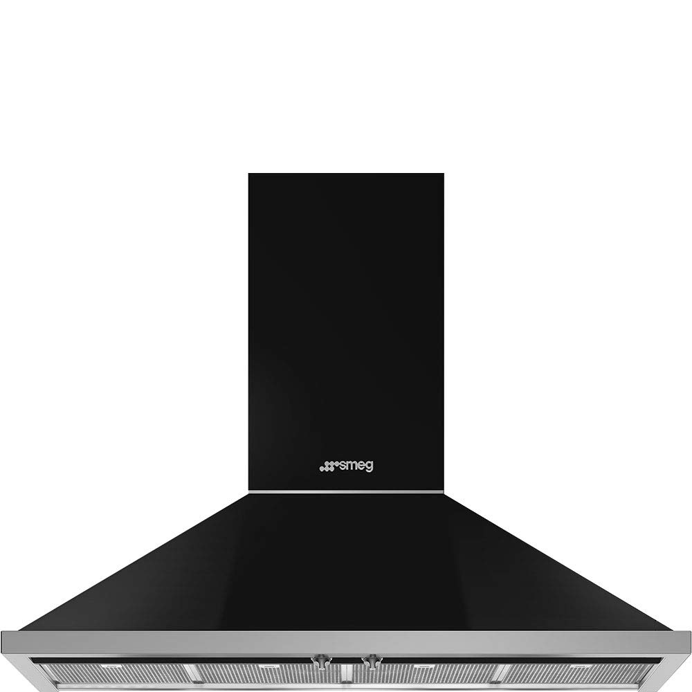 Smeg Portofino Series 48-Inch Pro Style Wall Mount Chimney Ducted 600 CFM Hood with Recirculating Option & Led Lights (Black)