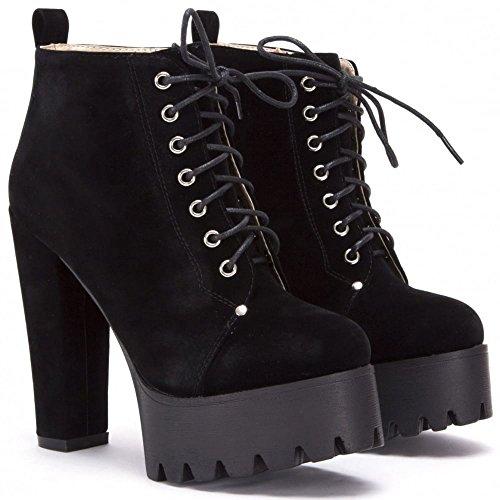 Mesdames Simili-Suède Noir Lacez Bloquent Les Chaussures à Talons Hauts Cheville Bottes Plateforme