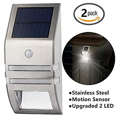 ?2 PCS?HowFine Pure White Solar Wall Light, Bright Stainless Steel Motion Sensor Light, Wireless Improve Security Weatherproof Lamp for Patio Lawn Garden Stairs (Silver)