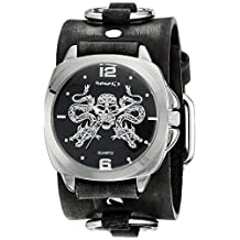 Nemesis Men's 910DFRB-K Silver Dragon King of Skulls Series Stainless Steel Watch With Faded Black Leather Cuff