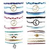 Exweup Summer Wave Beach Bracelet Women Boho Handmade Waterproof Wax Coated Adjustable Braided Rope Bracelets Set