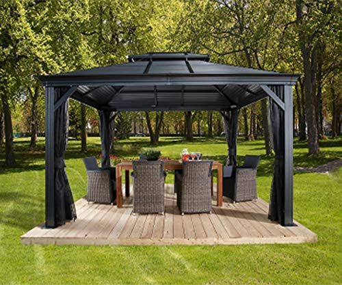 Sojag 10 x 12 Mykonos Double Roof Hardtop Gazebo Outdoor Sun Shelter, 10 x 12 , Dark Grey