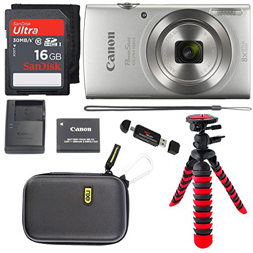 - Canon PowerShot ELPH 180 Digital Camera with IS and Smart AUTO Mode (Silver), SanDisk Ultra 16GB, Camera Case and Premium Accessory Bundle
