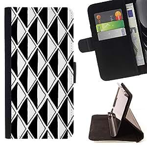 For Samsung Galaxy S6 EDGE (NOT S6) Plus / S6 Edge+ G928 Case , Negro Ilusión Blanca Polígono óptico- la tarjeta de Crédito Slots PU Funda de cuero Monedero caso cubierta de piel