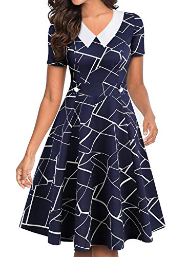 YATHON Women's Retro Peter Pan Collar Casual Party Dress Vintage Buttons Short Sleeve Blue White Stripes Swing A-Line Party Business Work Dresses (S, YT021-Blue w Stripe) (Peter Pan Dress For Women)