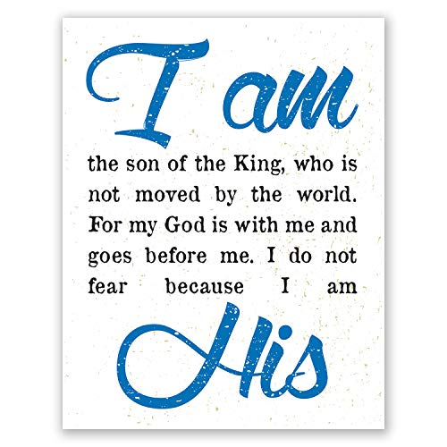 - 8x10 Boy Nursery Wall Art Poster // I Am His Christian Print // Children's Room Decor // Baby Shower Gift // Baptism