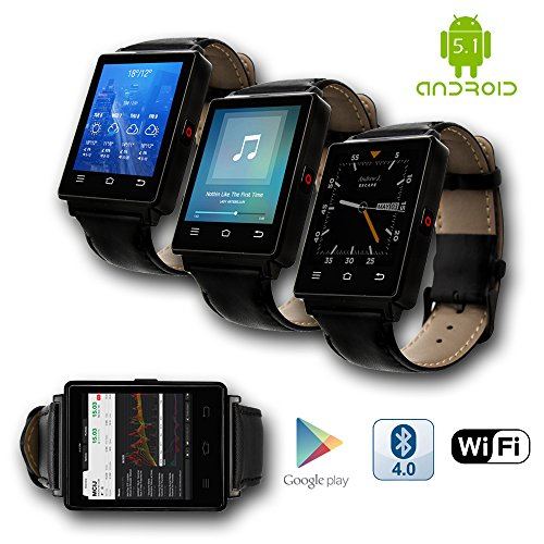 Indigi 2017 Android 5.1 3G Unlocked SmartWatch & Phone WiFi + GPS(Maps) + Heart Rate Monitor + Google Play Store by inDigi (Image #3)
