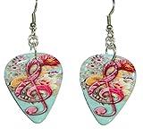 Hot Pink & Blue Treble Clef Floral Guitar Pick Dangle Earrings (GP002)
