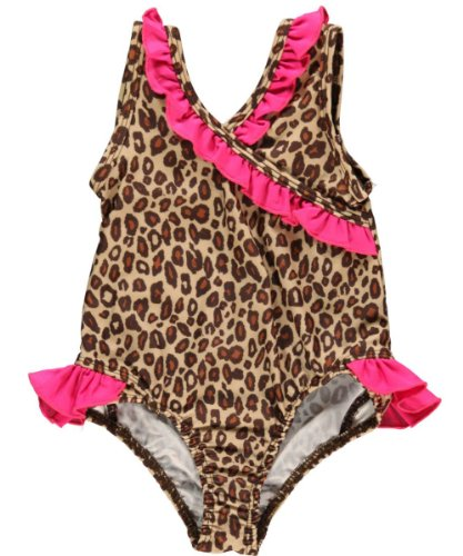 Pink Platinum Girls 2-6X Animal Print One Piece Swimsuit, Natural, 3T
