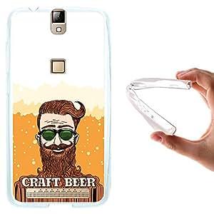 WoowCase - Funda Gel Flexible { Elephone P8000 } Barbudo y Cerveza Carcasa Case Silicona TPU Suave