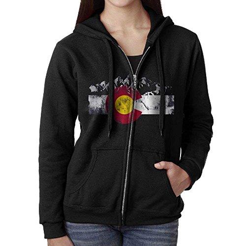 Cap New Colorado Flag Moutain Hooded Sweatshirt Full Zip Hoodie with Pocket for Women (Colorado Womens Zip Hoodie)