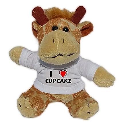 Jirafa de peluche (llavero) con Amo Cupcake en la camiseta (nombre de pila