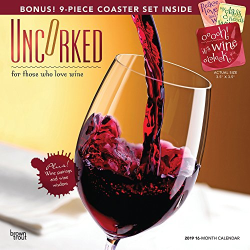 Uncorked, For Those Who Love Wine 2019 12 x 12 Inch Monthly Square Wall Calendar with Foil Stamped Cover and Coaster Set, Alcohol Vino Drinking Grapes (Multilingual Edition) ()
