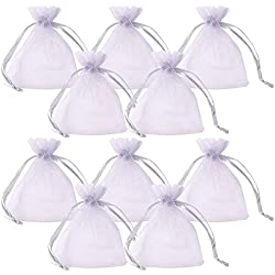 PH PandaHall 100pcs Rectangle Organza Gift Bags Drawstring Pouches for Wedding Party Christmas Warp Favor Gift Bags Light Grey 9x7cm