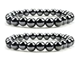 LUOS Set Of 2 Magnetic Hematite Therapy Bracelets Lg 12mm / Pain Relief