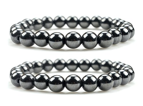 Unisex Magnetic Hematite Therapy Bracelets Set of Two, Metal Therapy, Bracelets for Pain Relief, Hematite Jewelry for Men & -