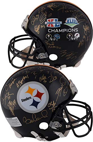 Nfl Autographed Bowl Super (Pittsburgh Steelers Super Bowl XL & XLIII Autographed Riddell Pro-Line Authentic Helmet with 27 Signatures - Fanatics Authentic Certified)