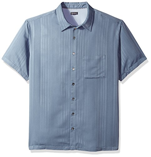 Van Heusen Men's Big and Tall Air Short Sleeve Button Down Poly Rayon Stripe Shirt, Legacy Blue Jeans, 3X-Large