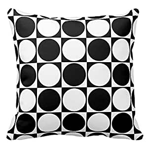 Black and White Dots Check Pattern Throw Pillow Case Cushion Cover Square Decorative 18X18 Inches Two Sides