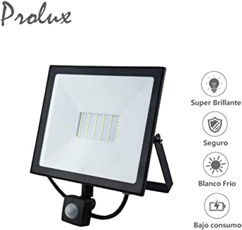 Luxvista 50W PIR Foco Reflector con Sensor Movimiento, Proyector ...