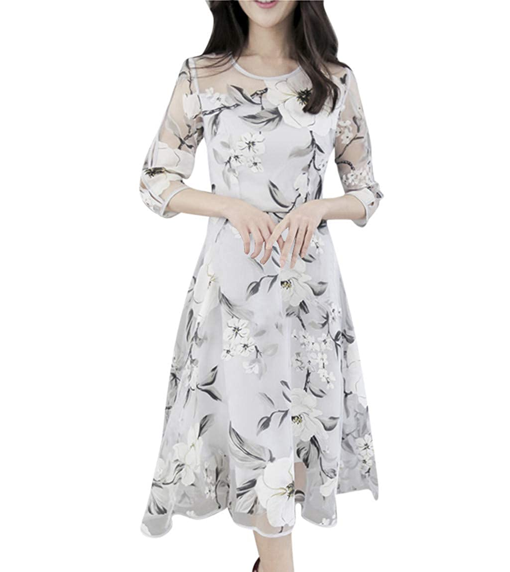 Women Dress Vintage Floral Lace Neck Long Sleeves Cocktail Party A-Line Swing Dress,Women's Summer Organza Floral Print Wedding Party Ball Prom Gown Cocktail Dress