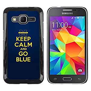 iKiki Tech / Estuche rígido - Gold Yellow Keep Calm Quote Motivational - Samsung Galaxy Core Prime SM-G360