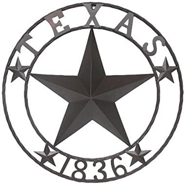 LL Home Metal Circled Star with Sayings Texas 1836