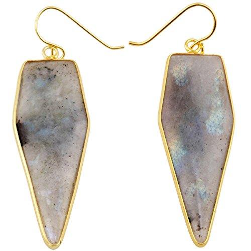 rockcloud Crystal Stone Dangle Earrings Gold Plated,Sword Shape,Labradorite