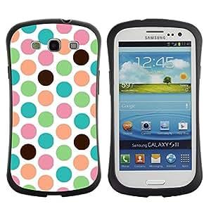 """Hypernova Slim Fit Dual Barniz Protector Caso Case Funda Para SAMSUNG Galaxy S3 III / i9300 / i747 [Patrón de punto del trullo Verde Blanco""""]"""