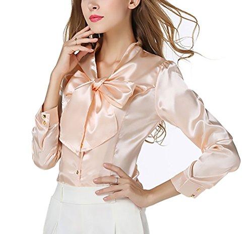 Top Business Apricot Slim Giovane Bowknot Women Camicia Shirt Lunga Vintage Blusa Primaverili Moda Elegante Grazioso Donna Autunno Manica Fit Camicetta Ufficio Raso wBZ7Uqx